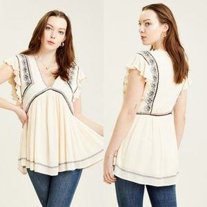 Free People Falling Water Embroidered Flutter Top